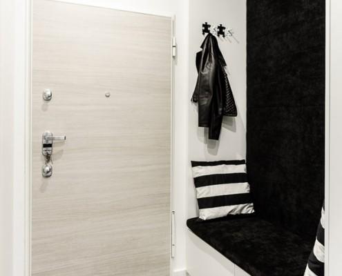 Czarno-biały przedpokój styl nowoczesny pracownia DragonArt