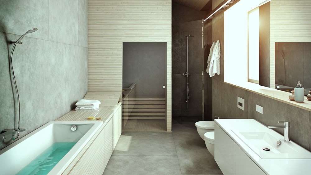 Nowoczesna łazienka z sauną nowoczesna sauna parowa, pokoje kąpielowe