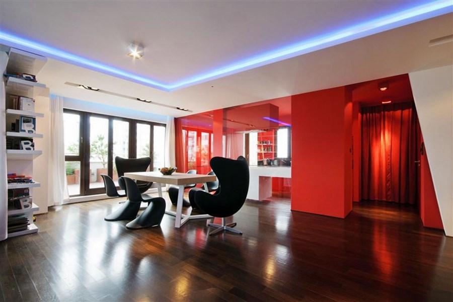 Podwieszany sufit z o wietleniem pomys y na nastrojowe wn trze architektura wn trza - Cool bright design homes ...