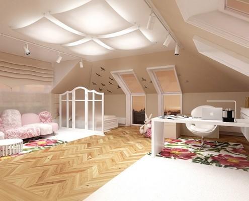 Pokój dla dziewczynki na poddaszu pracownia projektowa Concept