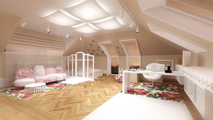 pok j dla dziewczynki na poddaszu architektura wn trza technologia design homesquare. Black Bedroom Furniture Sets. Home Design Ideas