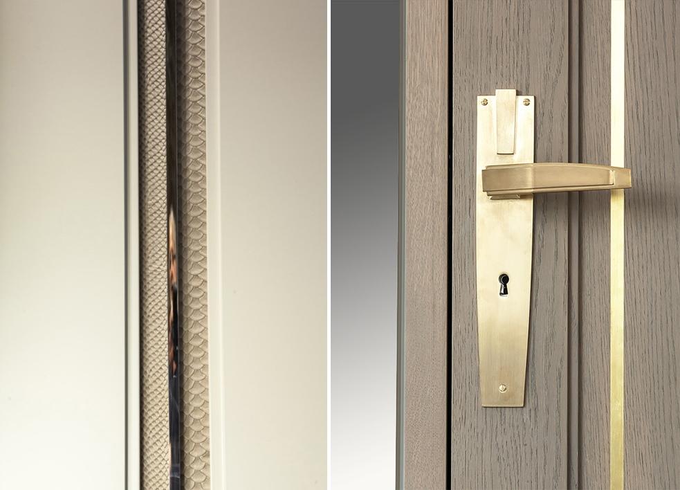 drzwi z nietypowym zestawieniem drewna i skóry