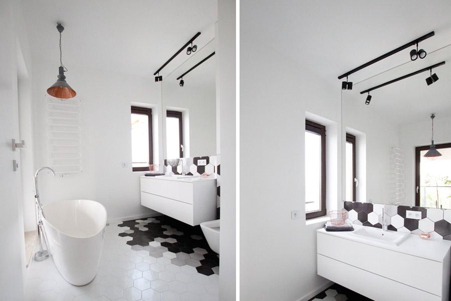 Biała łazienka bez płytek ściennych