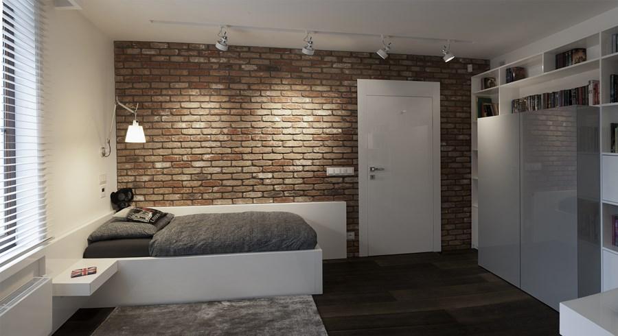 Pokój dla młodzieży ceglana ściana Minimoo