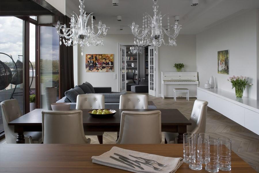 Aranżacja salonu i kuchni w stylu modern classic Anna Koszela