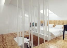 Biała sypialnia na poddaszu Mus Architects