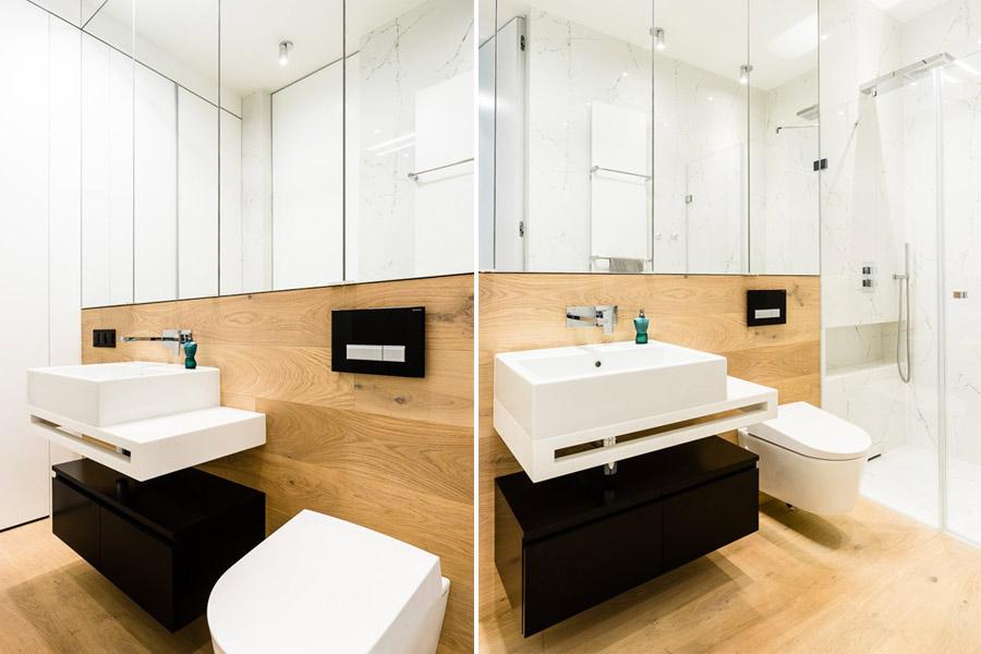 Drewno w łazience bez płytek