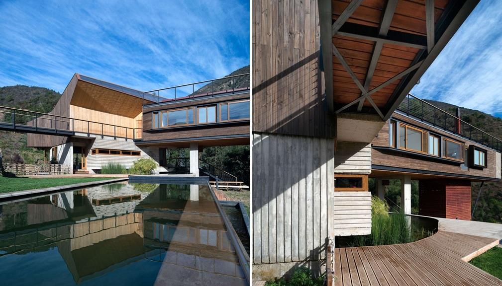 surowy drewniany dom w surowym górskim otoczeniu