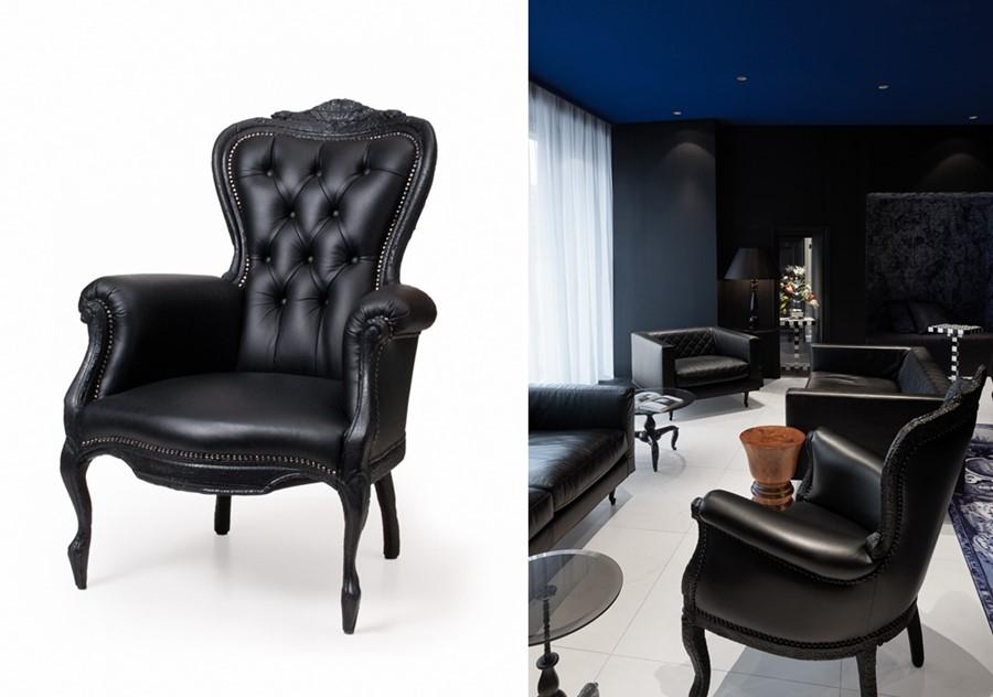 czarny fotel, projekt Maarten Baas