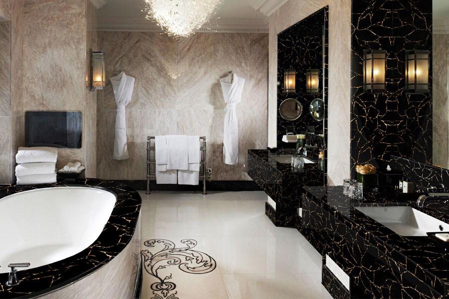 Stylowa łazienka w czarnym obsydianie