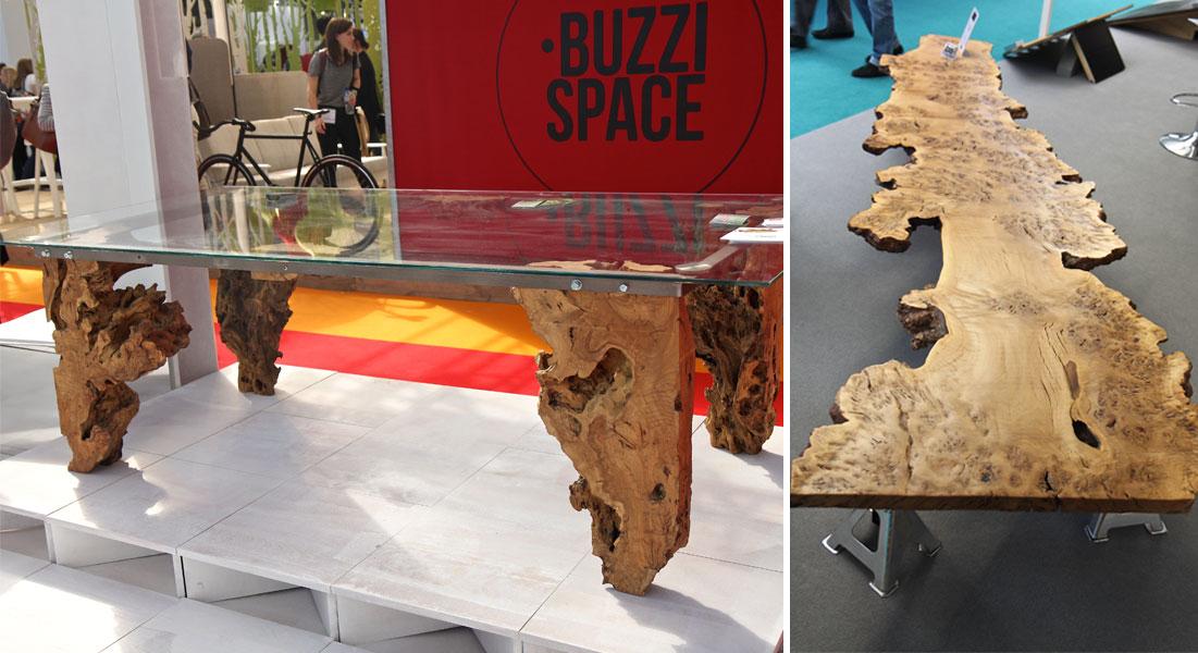 Naturalistyczne meble ze szkła i drewna