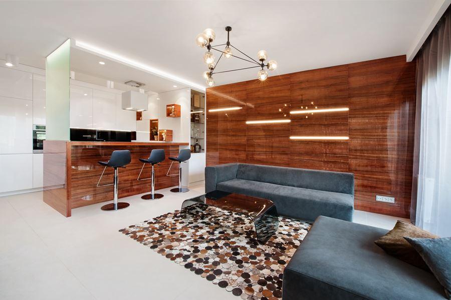 Nowoczesna kuchnia otwarta na salon Finchstudio Architektura Wnętrz