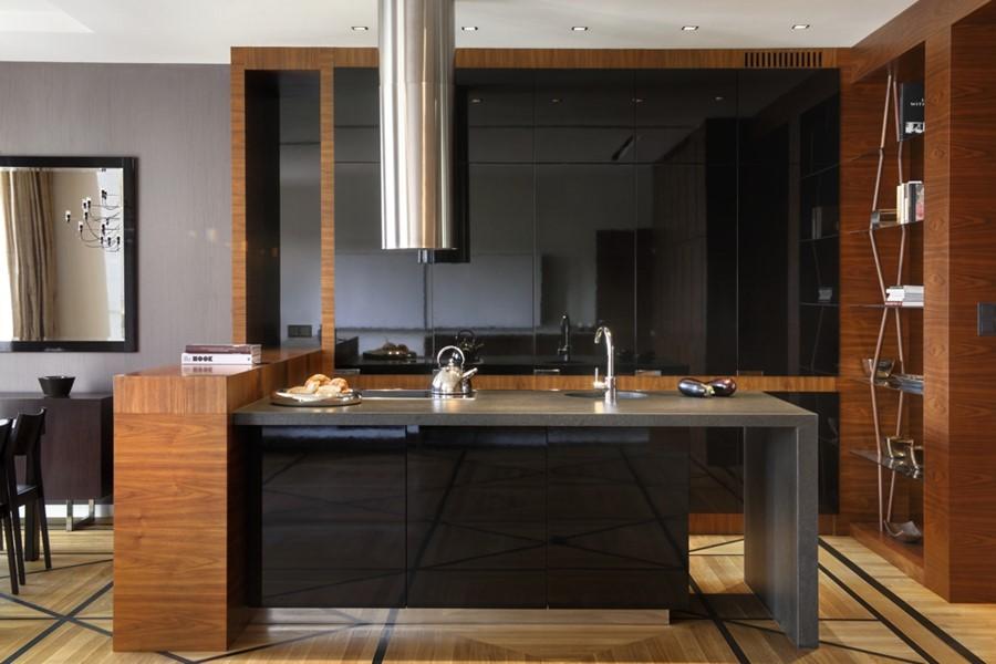 Pomysł na kuchnię w stylu art deco Stylowo i ponadczasowo   -> Kuchnia Czarna Z Drewnem