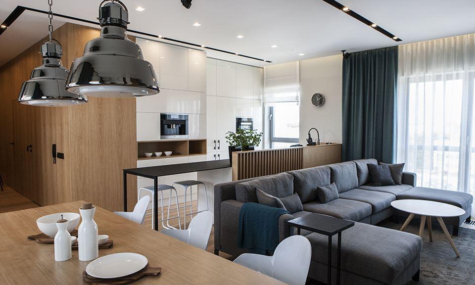 Nowoczesny salon z aneksem kuchennym Interno