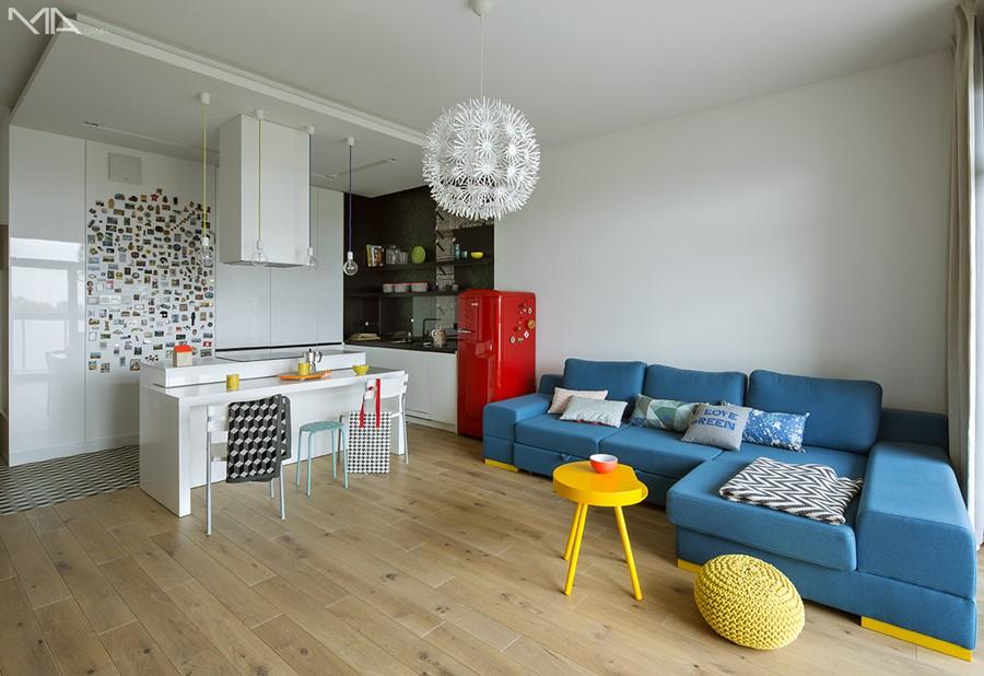 Otwarta kuchnia w mieszkaniu Madama