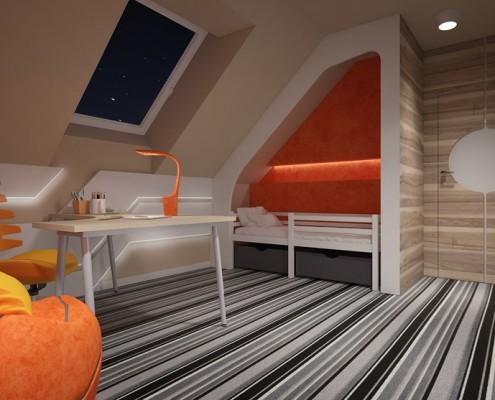 Pokój dziecięcy z pomarańczowym akcentem Concept