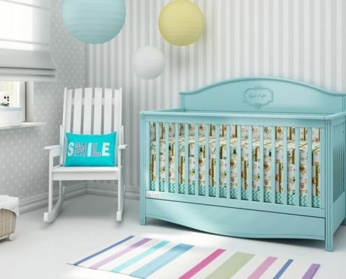Seledynowe łóżeczko dla niemowlaka marki Bellamy