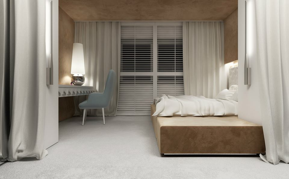 Sypialnia z pikowaniem na ścianie inspiracje