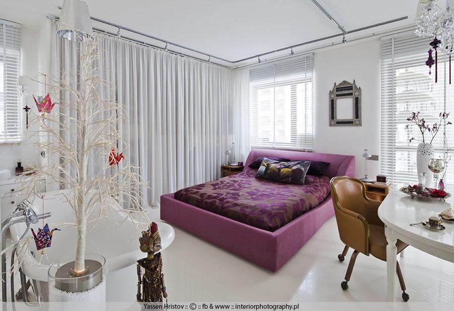 Sypialnia połączona z salonem aranżacja wnętrz