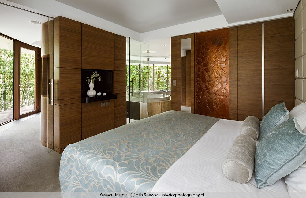 Sypialnia wydzielona meblami i ściankami arażacja wnętrz