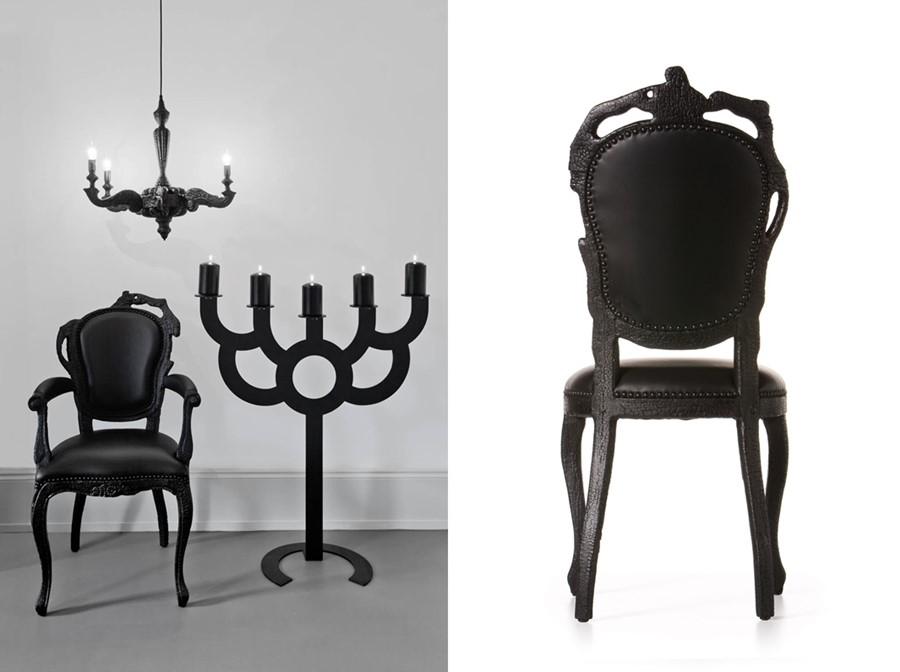 krzesło z kolekcji czarnych mebli projektu Maarten'a Baas'a