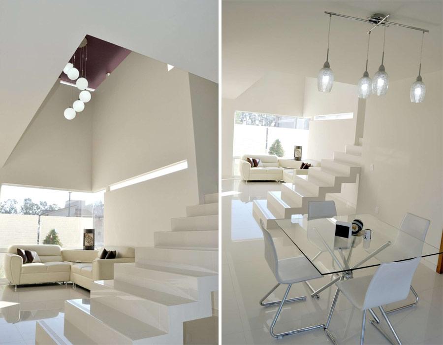 nowoczesna klatka schodowa w domu o kilku poziomach