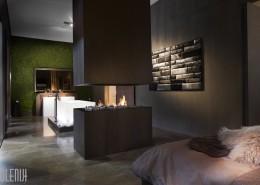Łazienka nowoczesna połączona z sypialnią romantyczna