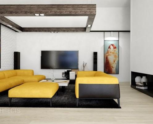 Żółte sofy w nowoczesnym salonie JABRAARCHITECTS