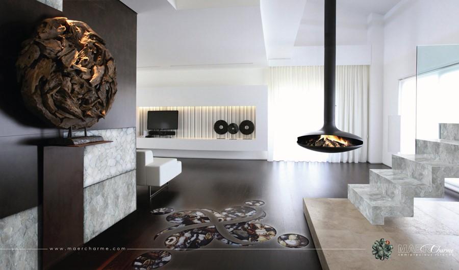 Aranżacja salonu z kominkiem podwieszanym styl nowoczesny
