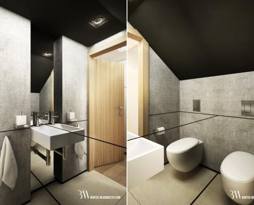 Beton architektoniczny w małej łazience Bartek Włodarczyk