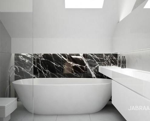 Biała łazienka na poddaszu Jabraarchitects