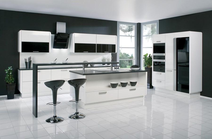 Biało czarna kuchnia w nowoczesnym stylu  Architektura   -> Czarna Kuchnia Wolnostojąca