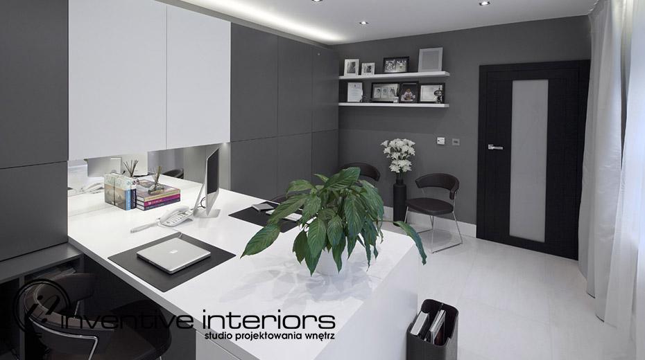 Biało-szare biuro w domu Inventive Interiors