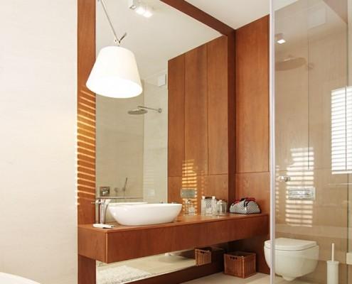 Drewniany akcent w pokoju kąpielowym Katarzyna Kraszewska