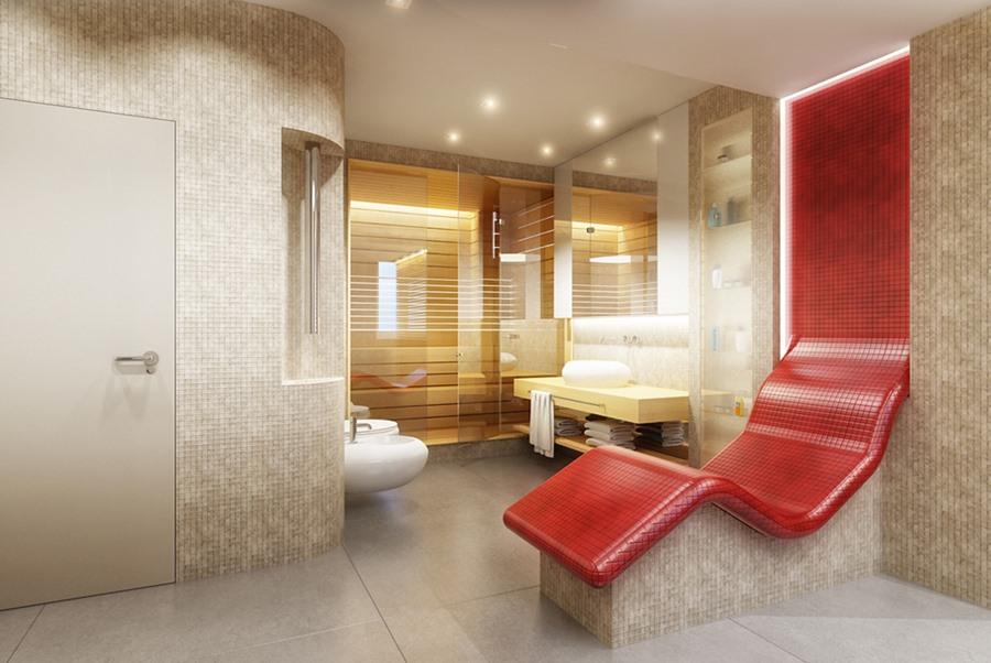 Duża łazienka z sauną i kącikiem wypoczynkwym