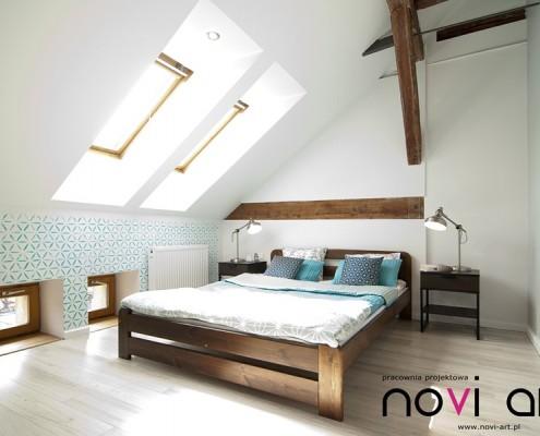 Duża sypialnia na poddaszu Pracownia Novi Art