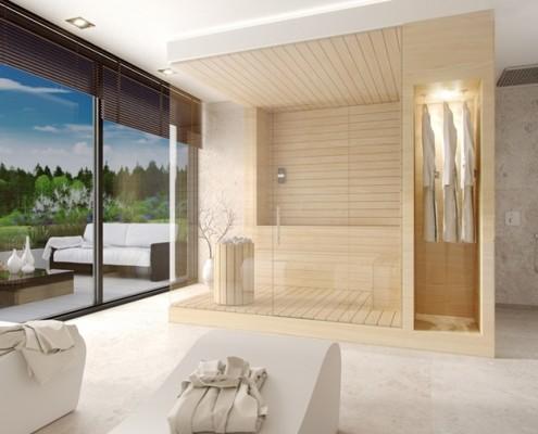 Duży pokój kąpielowy z sauną Km rubaszkiewicz