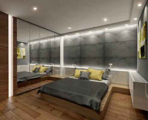 Industrialna sypialnia z betonem architektonicznym KM rubaszkiewicz