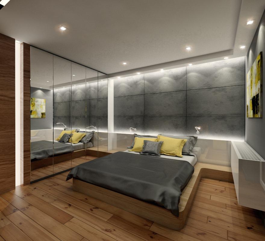Industrialna sypialnia z betonem architektonicznym - Architektura, wnętrza, technologia, design ...