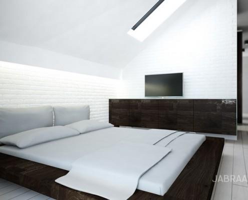 Minimalistyczna sypialnia z biblioteką JABRAARCHITECTS