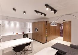 Minimalistyczny pokój dzienny z kuchnią KM rubaszkiewicz