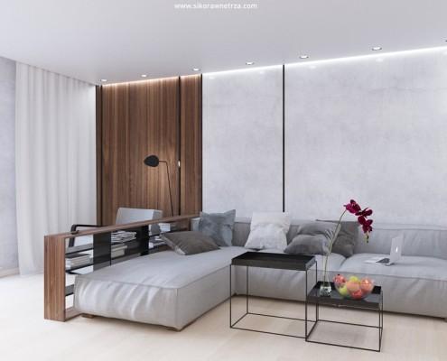 Minimalistyczny salon z kącikiem wypoczynkowym Sikora Wnętrza