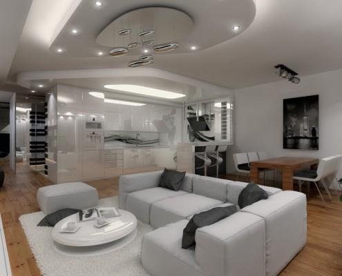 Projekt salonu z białą kuchnią KM rubaszkiewicz