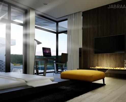 Projekt sypialni z dużą garderobą JABRAARCHITECTS