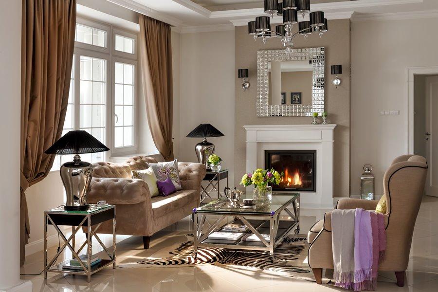 Przytulny salon glamour oryginalne wnętrza