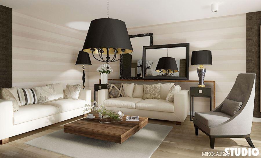 Przytulny salon modern classic pomysł na wystrój