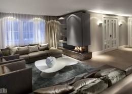 Nowoczesny salon z kominkiem aranżacje wnętrz luksusowe wnętrza Robert Kolenik