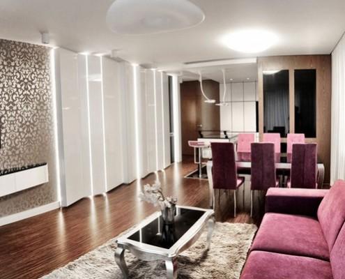 Salon otwarty na kuchnię w kobiecym wydaniu Sikora Wnętrza