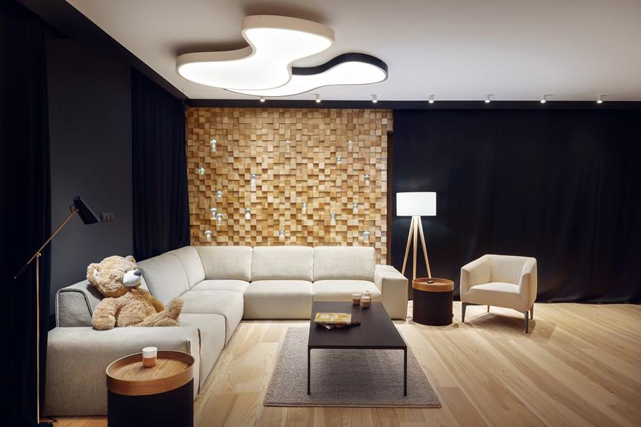 Salon z drewnianą mozaiką Sikora Wnętrza