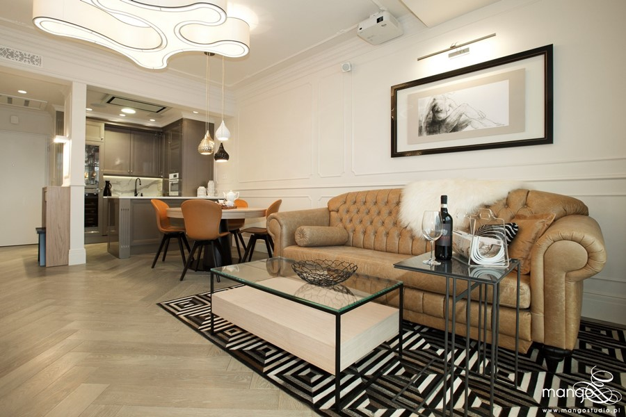 Styl modern classic w salonie - jak dobrać dywan